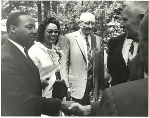 Martin Luther King and Coretta Scott King with Arthur Morgan-1967-Courtesy of Antiochiana, Antioch College