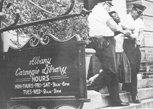 Protest at Albany Library
